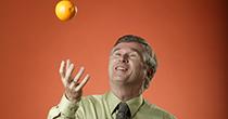 Dr. David Bailey throwing a grapefruit