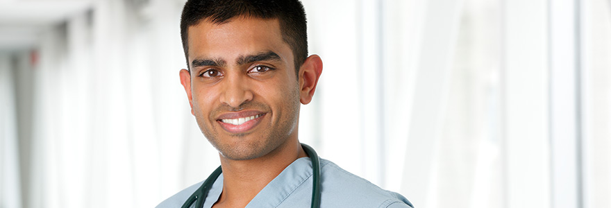 Medical student wearing a stethoscope around neck