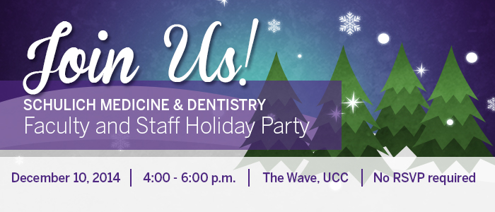 Join us for the faculty and staff holiday party on December 10