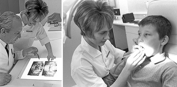 Dr. Marilyn MacLaughlin the first female graduate of the Faculty of Dentistry, formed in 1968. looking into a patient's mouth