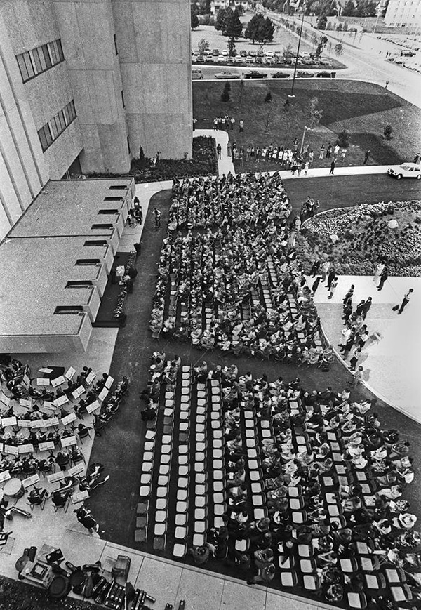 Ariel view of the opening of University Hospital in 1972