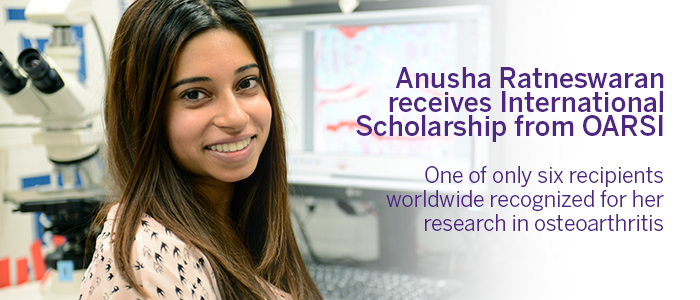 Anusha Ratneswaran awarded international scholarship from OARSI