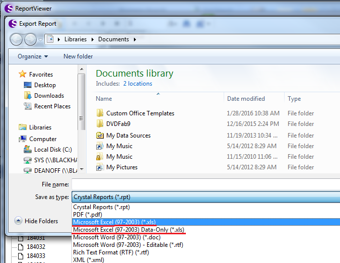 When exporting reports out of SAS to Excel, there are two export