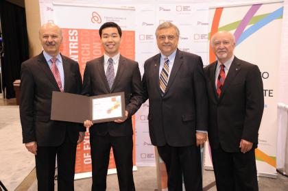 left to right, Dr. Reza Moridi, Minister of Research and Innovation, Jack Lee, Fellowship recipient, Dr. Tom Corr, CEO, Ontario Centres of Excellence, and Dr. Donald T. Stuss, President, Ontario Brain Institute.
